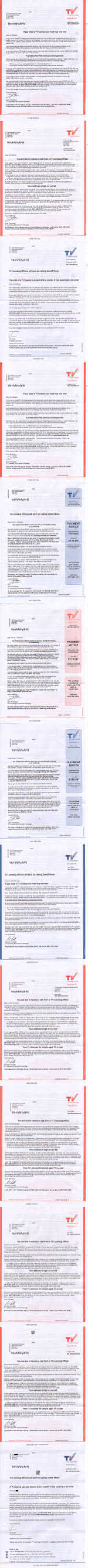 Picture of the letters from Tv Licensing