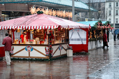 Picture of a Bratwurst stall on the German Christmas Market in Glasgow