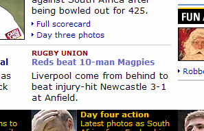 Screenshot from the BBC Sport website, showing a football match under the rugby category