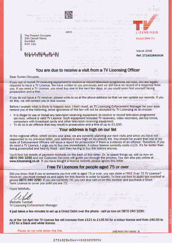 Scan of the latest letter from TV Licensing