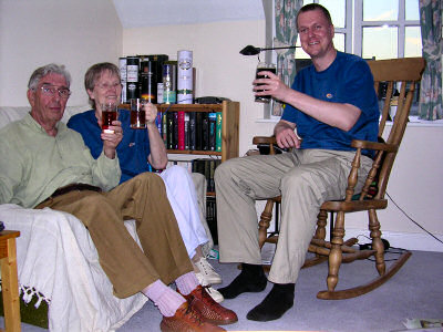 Picture of my parents and me enjoying a beer