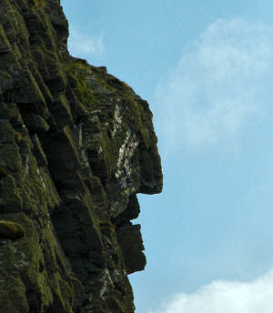 Picture of a rock formation looking like a human face
