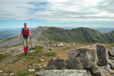Picture of Armin on Conival, Ben More Assynt in the background