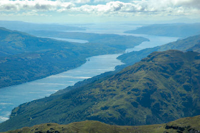 Picture of a view from Beinn Narnain over Loch Long and the Firth of Clyde