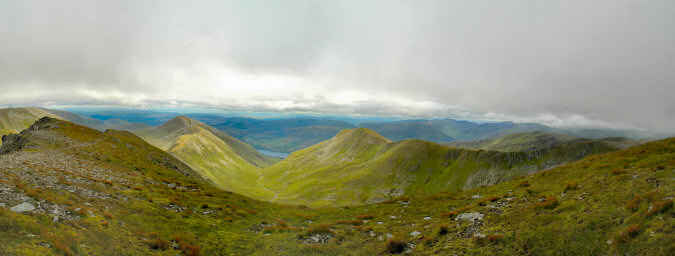 Panoramic view over ridges and corries in the Scottish Highlands