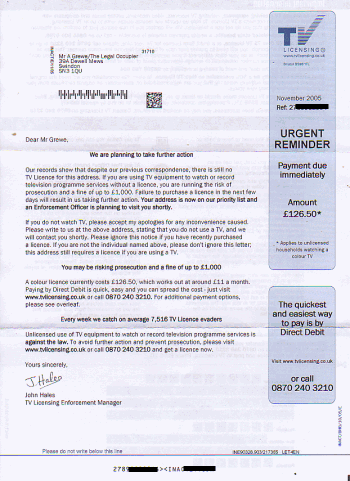 Scan of the letter from TV Licensing