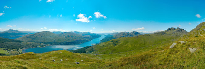 Picture of a panoramic view over hills and lochs