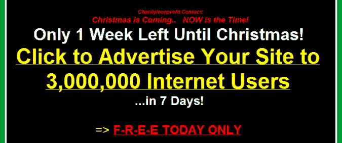 Screenshot of the spam saying Christmas is one week away