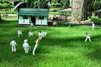 Picture of the cricket ground at the model village