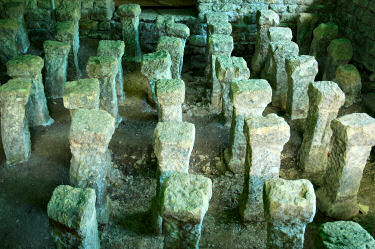 Picture of stone pillars for underfloor heating in the remains of a Roman house