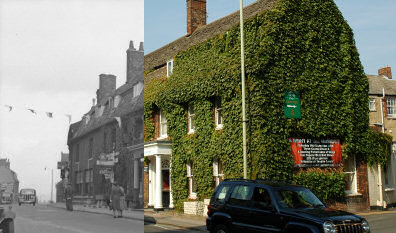 Composite picture of the Goddard Arms Hotel in 1945 and 2006