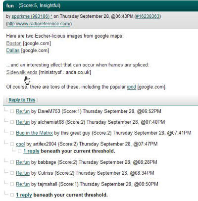 Screenshot of a section of Slashdot