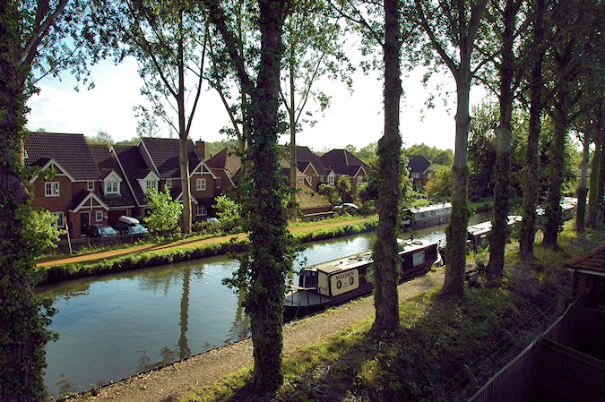 Picture of a view of a canal lined with Poplar trees, seen from a flat next to the canal