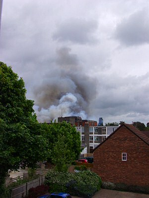 Picture of the view towards the burning building
